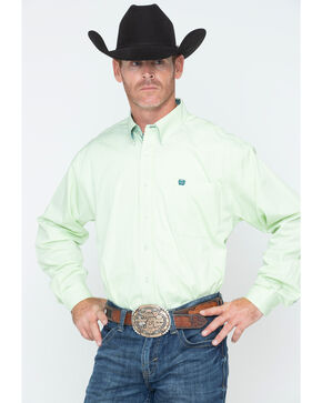 Cinch Men's Lime Striped Western Shirt , Light Green, hi-res