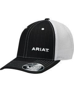 Ariat Men's Black Pinstripe Pattern Baseball Cap , Black, hi-res