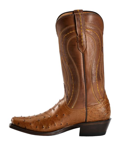 Lucchese Handcrafted 1883 Full Quill Ostrich Western Boots - Square Toe, Tan Burnish, hi-res