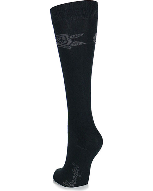 Wrangler Women's Rose Patterned Mid-Calf Socks, Black, hi-res