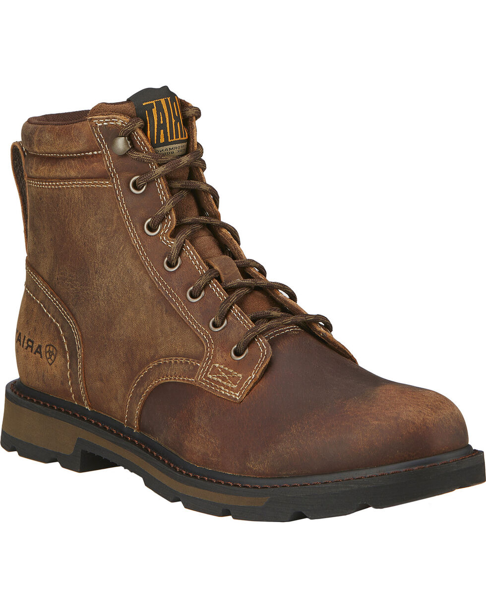"Ariat Men's Groundbreaker 6"" Lace Up Work Boots - Round Toe, Brown, hi-res"