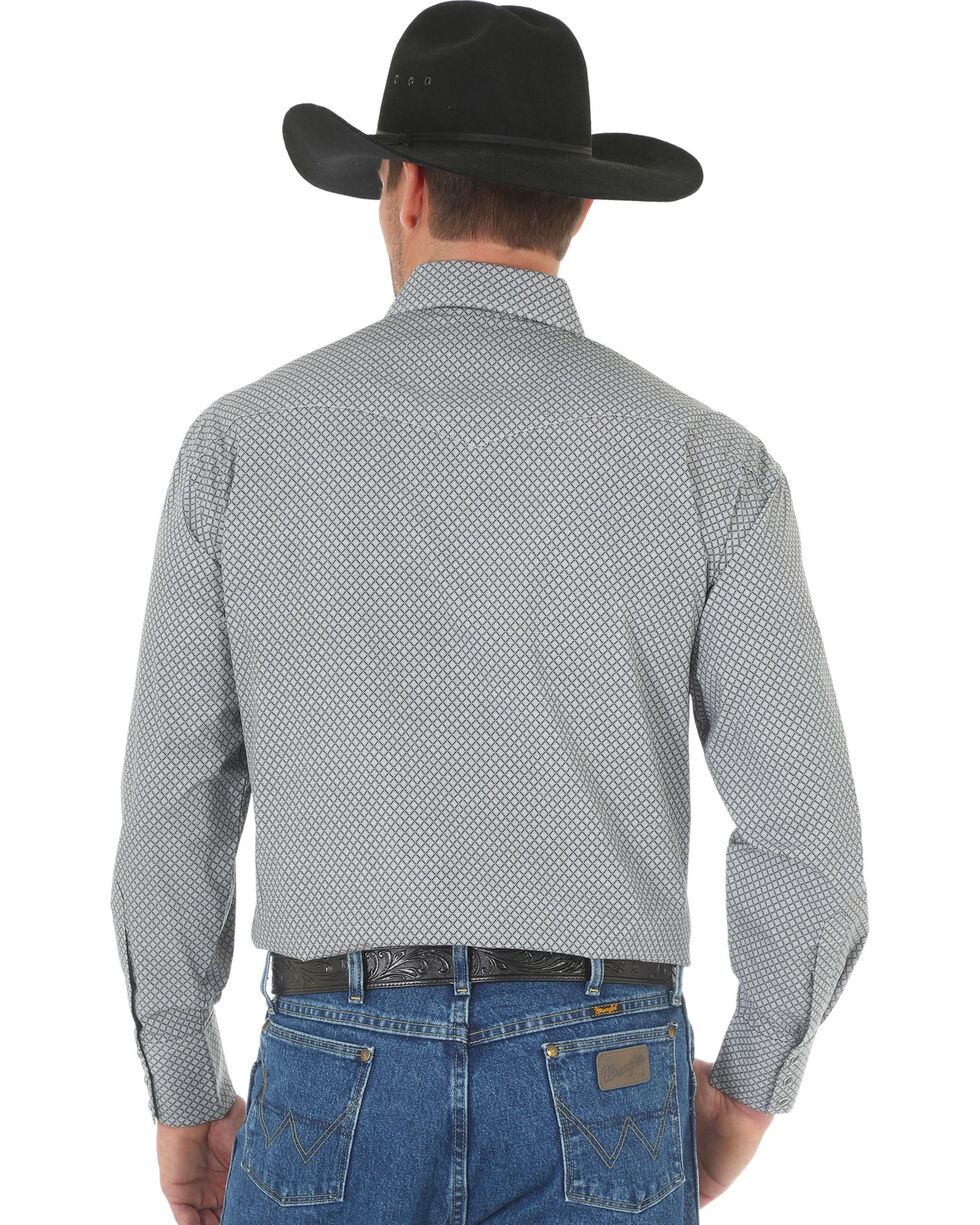 Wrangler George Strait Men's Black/White Printed Poplin Snap Shirt, Black, hi-res