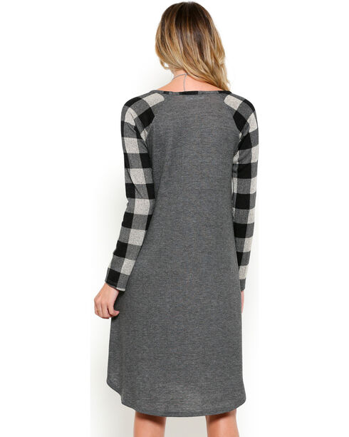 Ces Femme Women's Plaid Sleeve Dress, Black, hi-res