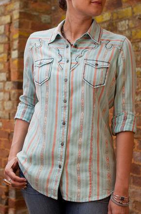 Ryan Michael Women's Aqua Navajo Blanket Jacquard Shirt, Aqua, hi-res