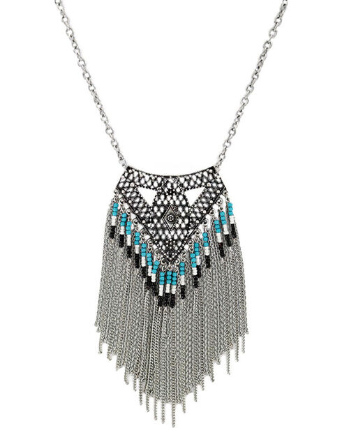 Shyanne Women's Aztec Waterfall Necklace , Silver, hi-res