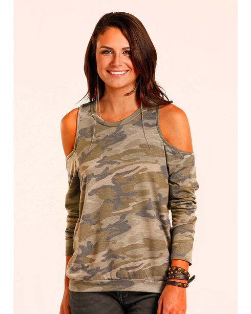 Panhandle Women's Camo Print Cold Shoulder Top , Camouflage, hi-res
