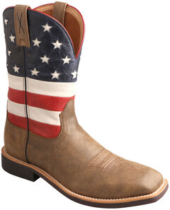 Twisted X American Flag VFW Top Hand Cowboy Boots - Square Toe , , hi-res