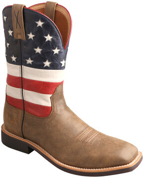 Twisted X American Flag VFW Top Hand Cowboy Boots - Square Toe , Bomber, hi-res