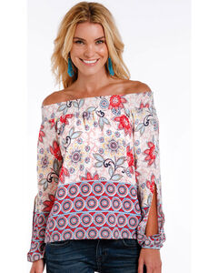 Panhandle Women's Floral Off The Shoulder Top , Natural, hi-res