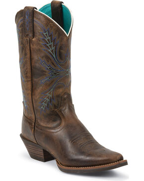 Justin Silver Turquoise Stitched Cowgirl Boots - Snip Toe, Brown, hi-res