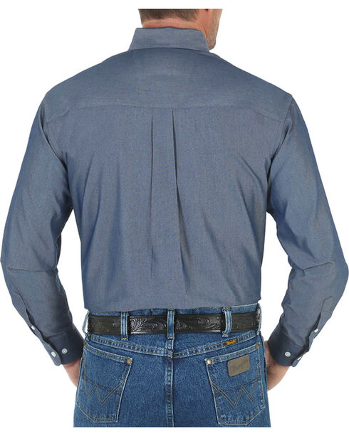 Wrangler George Strait Men's Solid Long Sleeve Shirt - Tall, Blue, hi-res