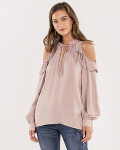 Miss Me Women's Missing Link Dusty Pink Cold Shoulder Top, Blush, hi-res