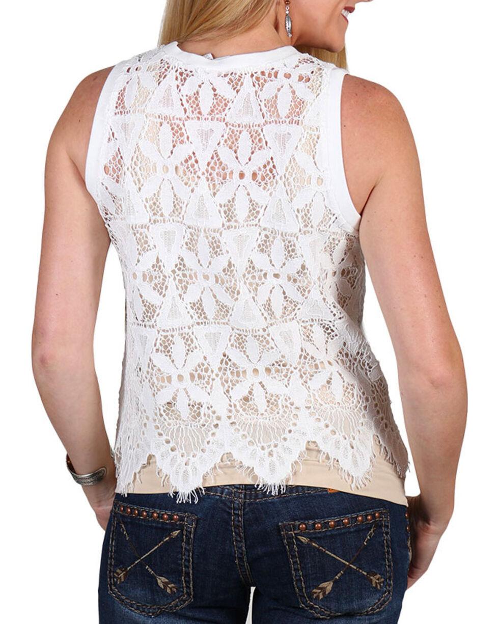 Shyanne Women's Allover Lace Tank Top, White, hi-res