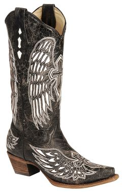 Corral White Wing Inlay & Cross Embroidery Distressed Cowgirl Boots - Snip Toe, , hi-res