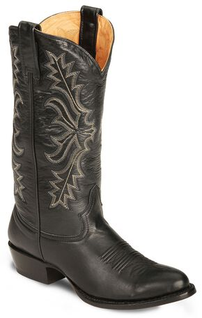 Stetson Hand-burnished Ficcini Cowboy Boots - Round Toe, Black, hi-res