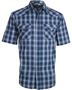 Pendleton Men's Blue Plaid Frontier Western Shirt , Blue, hi-res