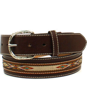 Nocona Men's Ribbon Overlay Oval Concho Belt , Brown, hi-res