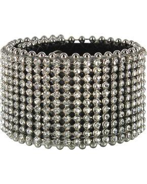 Shyanne® Women's Rhinestone Belt Leather Snap Bracelet, Black, hi-res