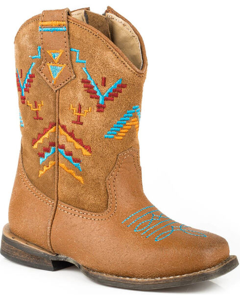 Roper Toddler Girls' Aztec Embroidery Cowgirl Boots - Square Toe, Tan, hi-res