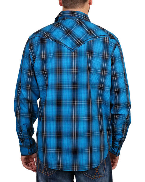 Cody James Men's Blue and Black Plaid Long Sleeve Shirt , Black, hi-res