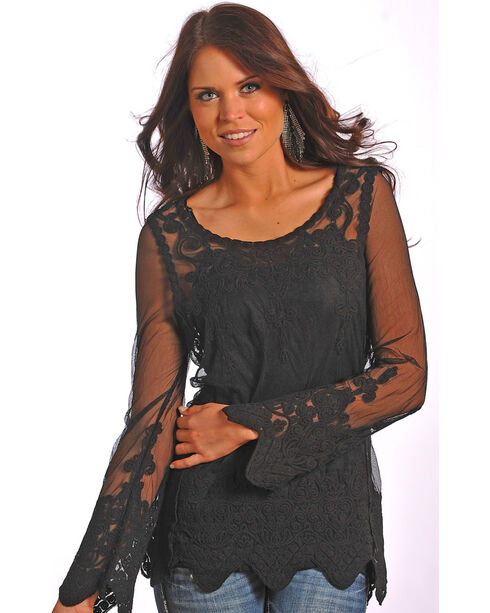Rock & Roll Cowgirl Women's Black Sheer Lace Top , Black, hi-res