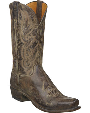 Lucchese Men's Whittaker Antique Cocoa Mad Dog Goat Western Boots - Square Toe, Brown, hi-res
