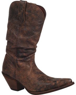 Durango Women's Crush Drunken Slouch Cowgirl Boots - Snip Toe, Dark Brown, hi-res