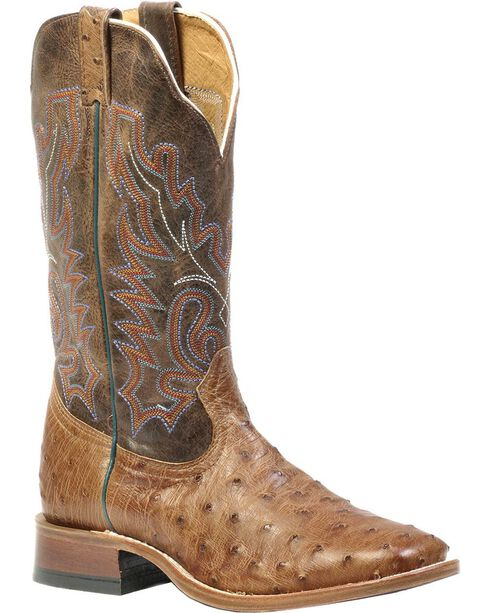 Boulet Full Quill Ostrich Cowboy Boots - Wide Square Toe, Wood, hi-res