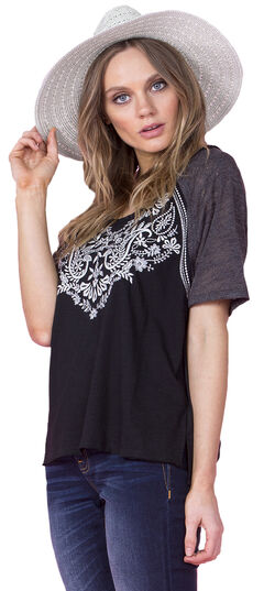 Miss Me Women's Black Short Sleeve Top, Black, hi-res