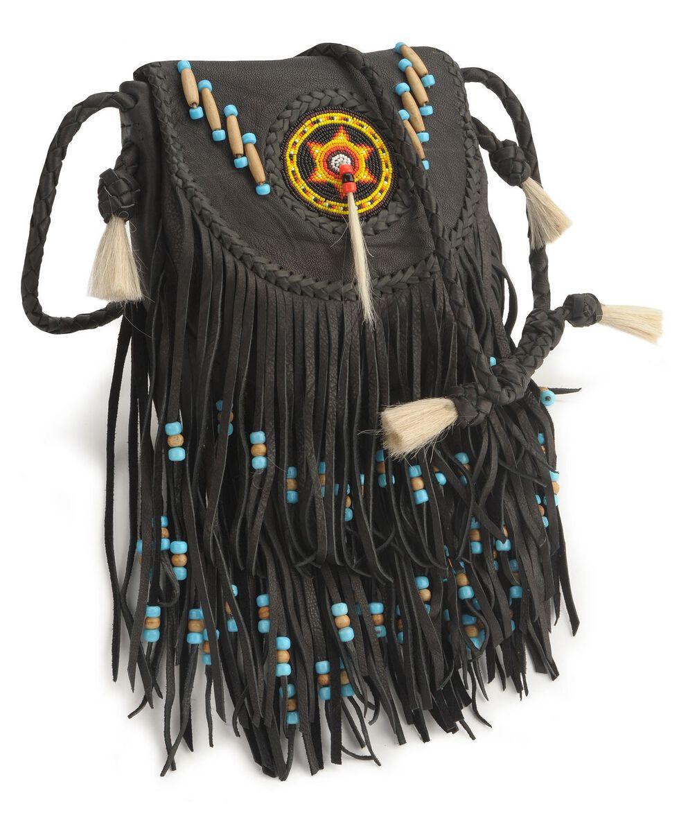 Kobler Leather Black Rossette Fringe Crossbody Bag, Black, hi-res