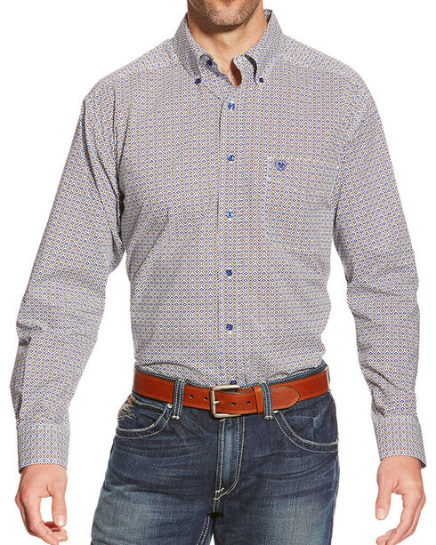 Ariat Men's Reyne Print Long Sleeve Shirt, White, hi-res