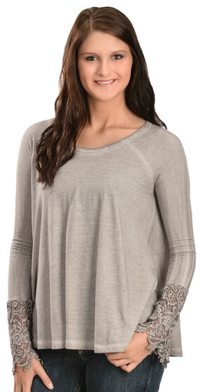 Black Swan Drizzle Lace Sleeve Top, Lt Grey, hi-res