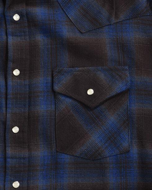 Ely Cattleman Men's Blue Brawny Flannel Long Sleeve Snap Shirt, Black, hi-res