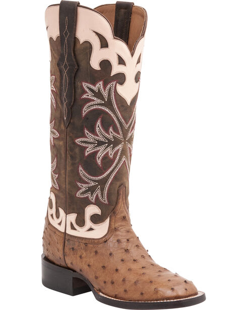 Lucchese Handcrafted 1883 Women's Rowena Full Quill Ostrich Boots - Square Toe, Tan, hi-res