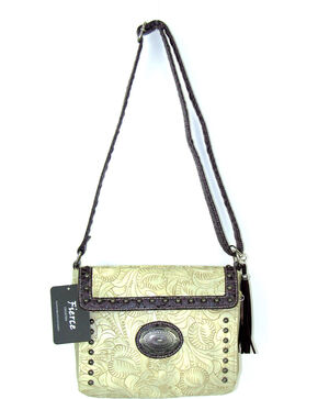Savana Women's Fierce Tooled Croco Trim Crossbody Purse , Ivory, hi-res
