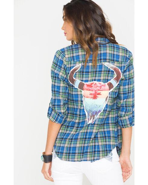 Bohemian Cowgirl Women's Blue Rainbow Skull Flannel Shirt , Blue, hi-res