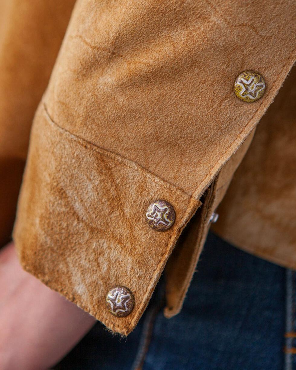 Ryan Michael Women's Tan Distressed Suede Shirt , Tan, hi-res