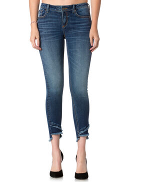 Miss Me Women's Indigo A-Frayed Not Jeans - Ankle Skinny , Indigo, hi-res