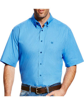Ariat Men's Blue Dundee Short Sleeve Western Shirt - Tall , Light Blue, hi-res