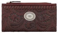 American West Women's Red Tooled Foldover Snap Closure Wallet , Red, hi-res