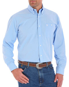 Wrangler George Strait Men's Small Check Button Down Long Sleeve Shirt - Tall, Blue, hi-res