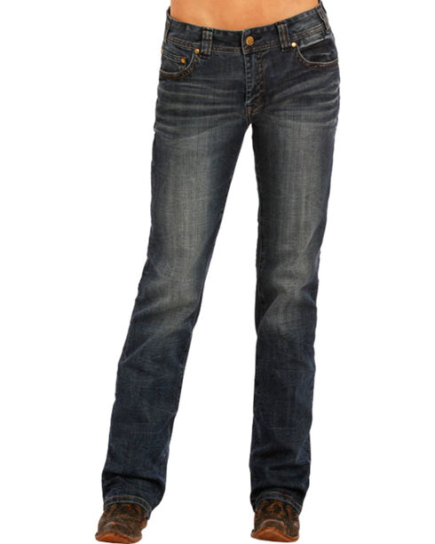 Rock & Roll Cowgirl Women's Dark Wash Boyfriend Jeans- Boot Cut , Blue, hi-res