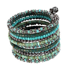 Treska Turquoise 11 Row Beaded Coil Cuff Bracelet, Turquoise, hi-res