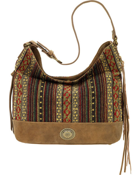 American West Bandana Women's Brown Serape Shoulder Bag , Brown, hi-res