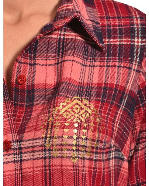 Derek Heart Women's Aztec Gold Foil Coral Plaid Tunic, Coral, hi-res