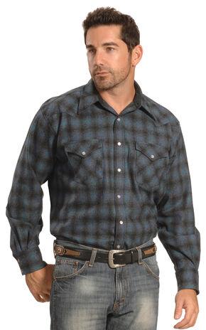 Pendleton Men's Blue Plaid Snap-Front Western Canyon Shirt , Blue, hi-res