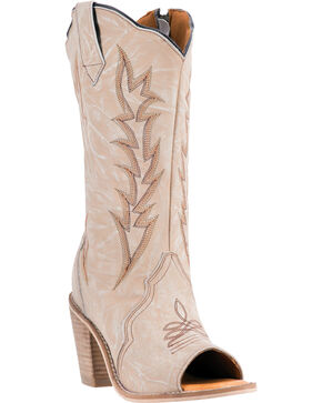 Laredo Women's Leather Pretender Western Boots, Ivory, hi-res