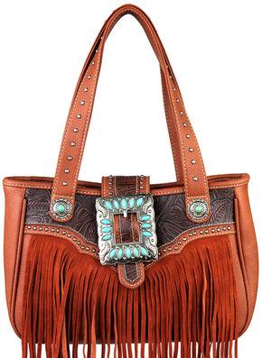 Montana West Trinity Ranch Belt Buckle Handbag with Fringe, Brown, hi-res