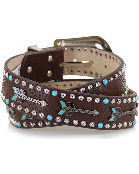Angel Ranch Women's Flying Arrows Leather Belt, Brown, hi-res
