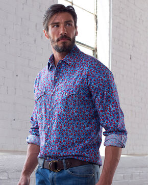Ryan Michael Men's Bluejay Floral Print Shirt , Blue, hi-res